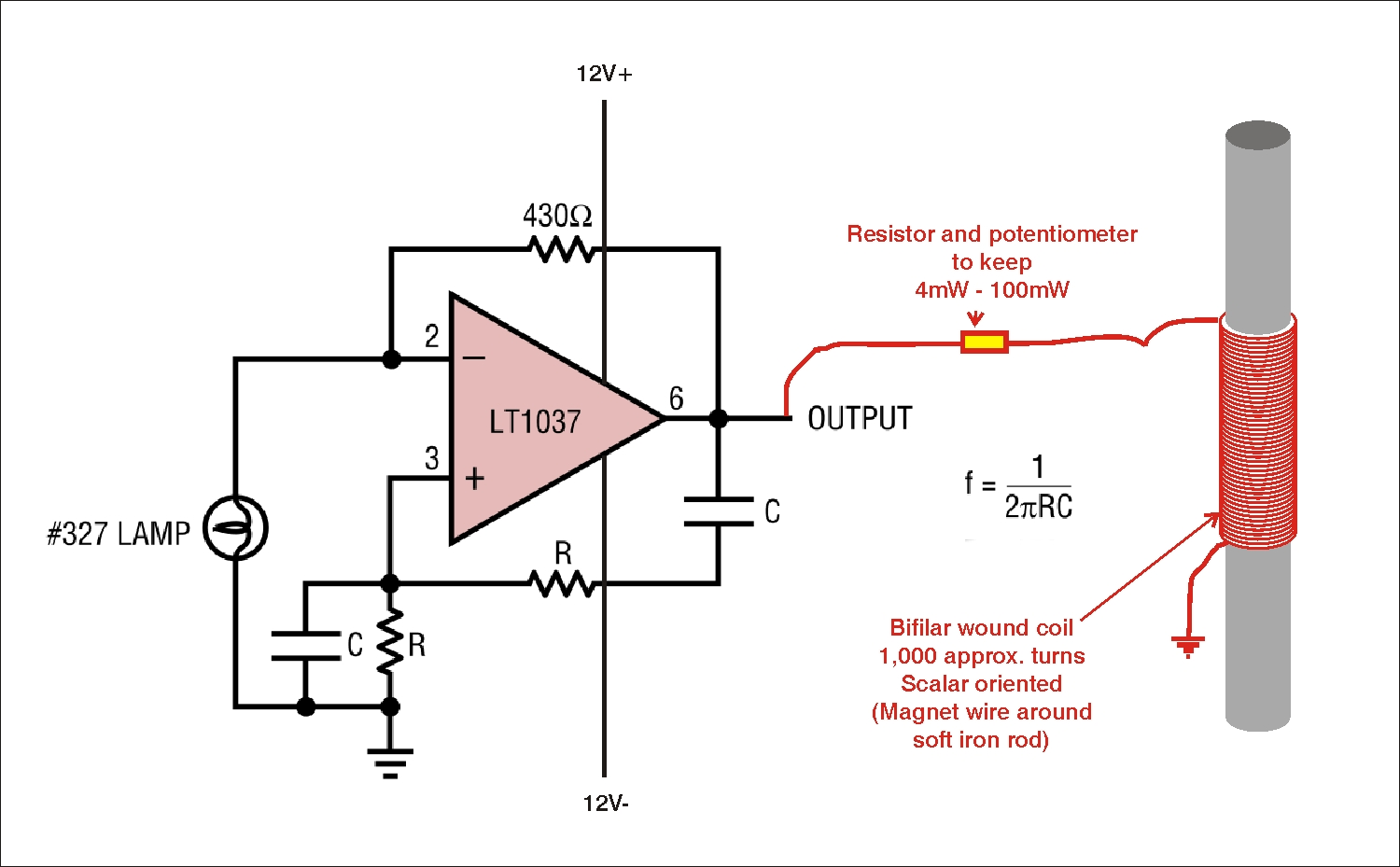 Schumann Frequency Oscillator With Scalar Coil Led Or Lamp Pulser Circuit